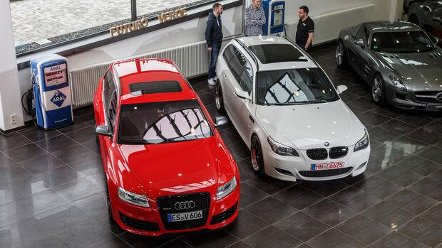 Audi RS 6 Avant, BMW M5 Touring, von oben