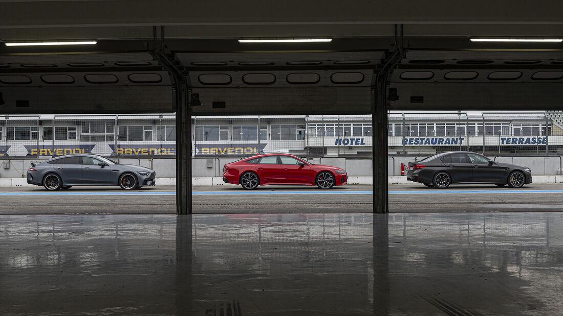 Audi RS 7 Sportback, BMW M5 Competition, Mecedes AMG GT 63 4-Türer Coupe, Exterieur