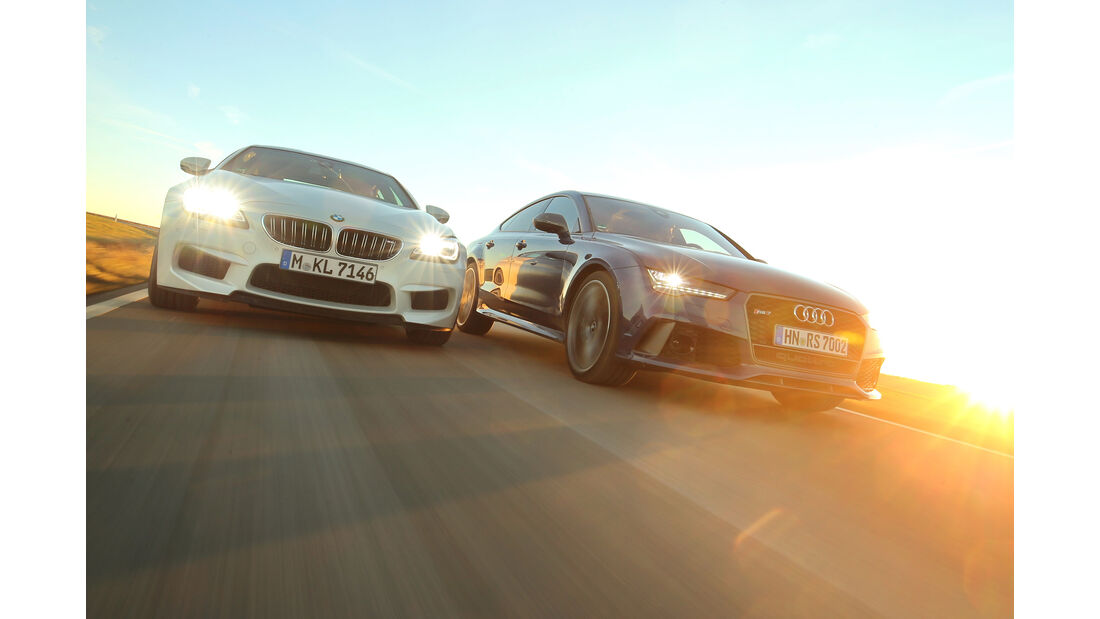 Audi RS 7  Sportback, BMW M6 Gran Coupé, Frontansicht