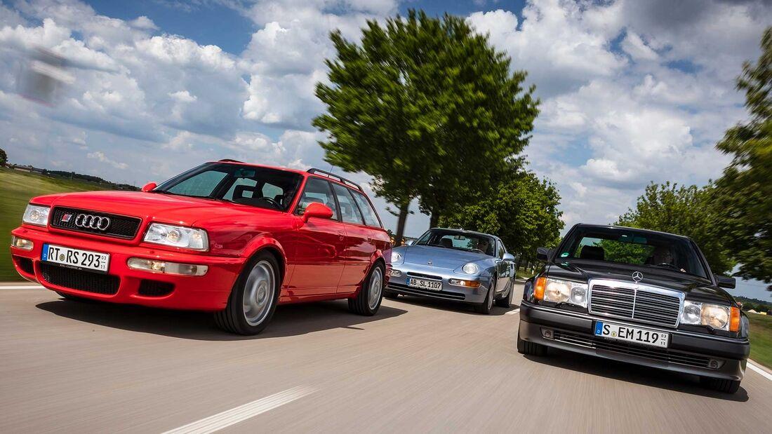 Audi RS2 Avant, Mercedes 500E, Porsche 968 Coupé