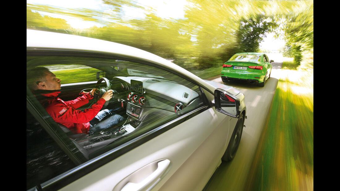 Audi RS3, Mercedes-AMG CLA 43,Fahreindruck Fahrerseite