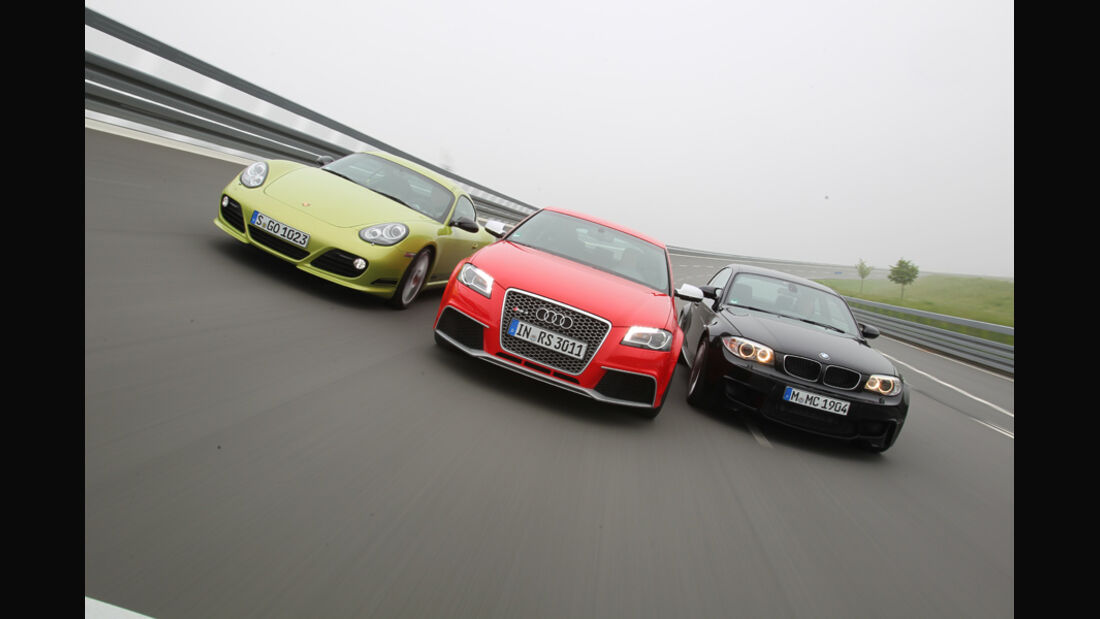 Audi RS3 Sportback, Porsche Cayman R, BMW Einser M Coupe, Gruppenbild, Front
