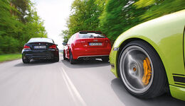 Audi RS3 Sportback, Porsche Cayman R, BMW Einser M Coupe, Gruppenbild, Teststrecke, Aktion