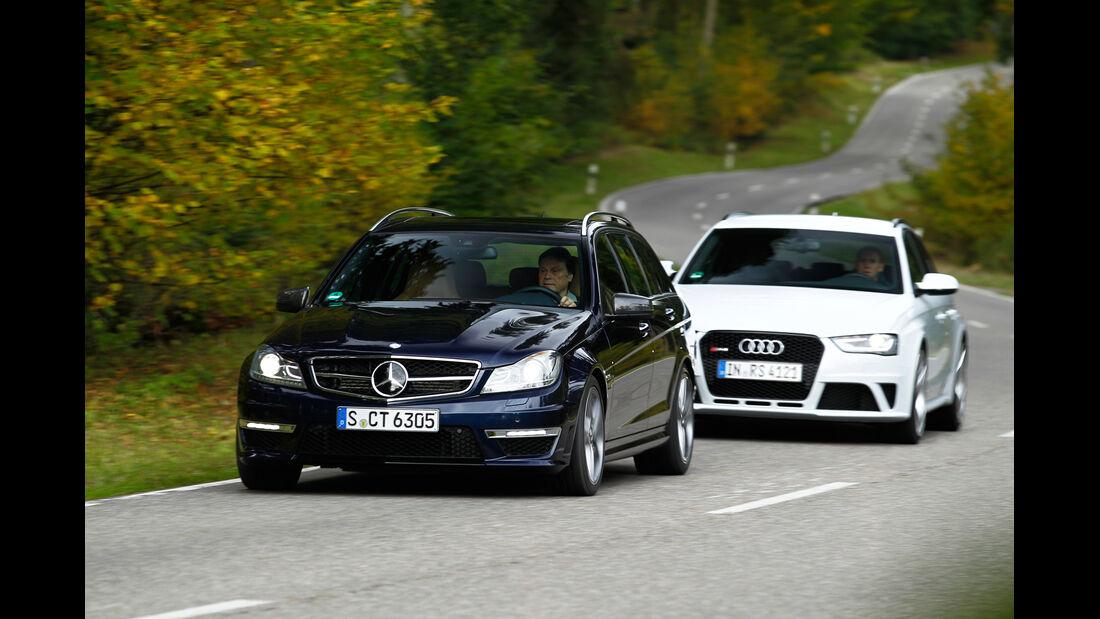 Audi RS4 Avant, Mercedes C 63 AMG T, Frontansicht