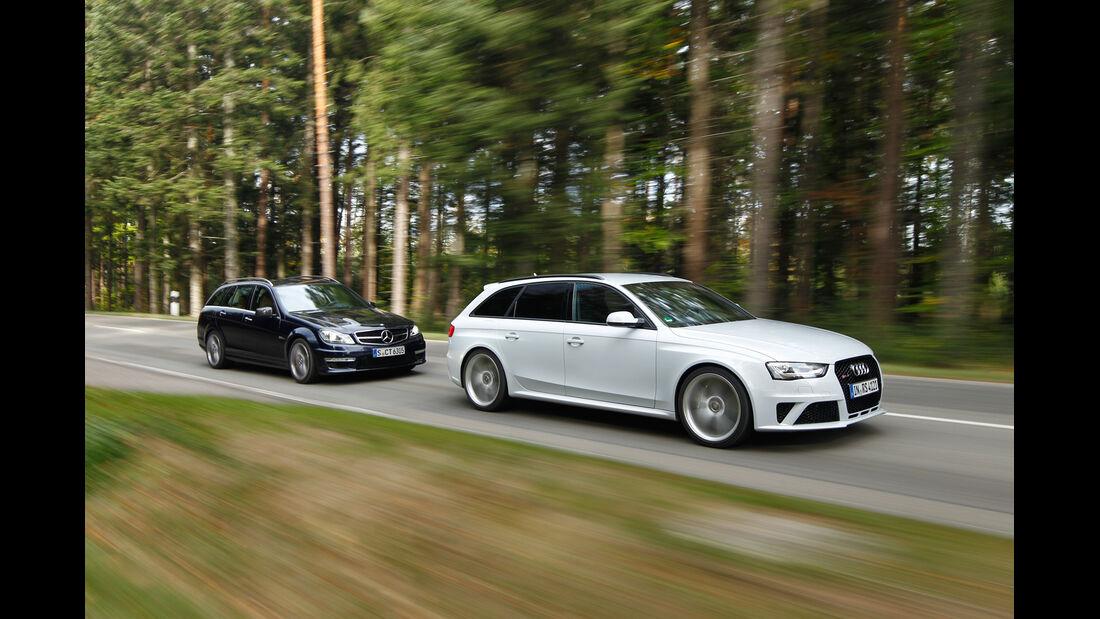 Audi RS4 Avant, Mercedes C 63 AMG T, Seitenansicht