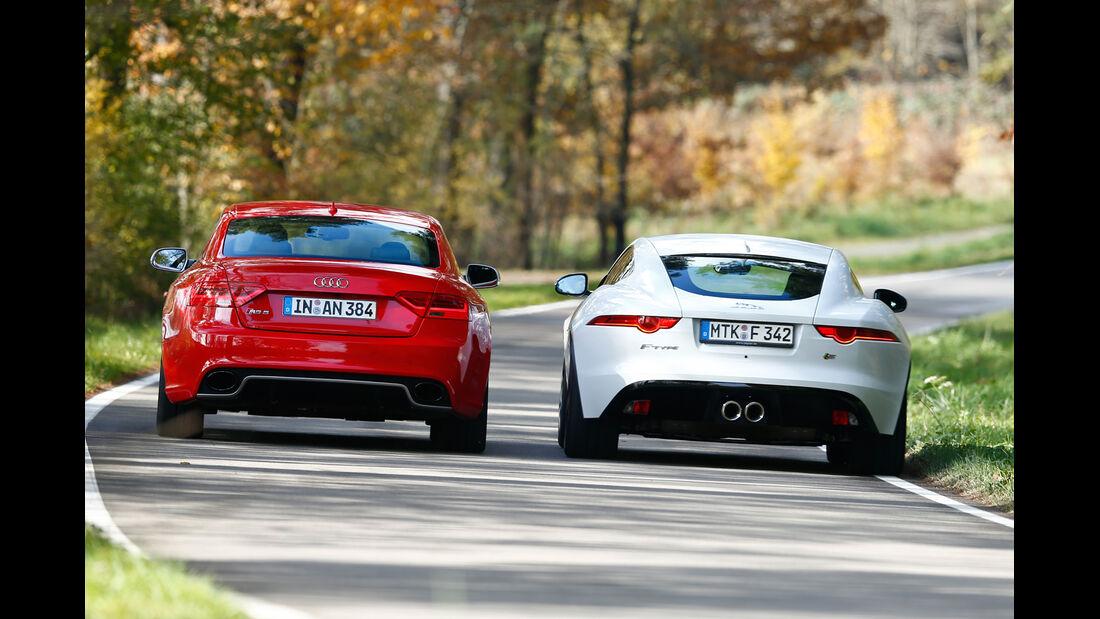 Audi RS5 Coupé, Jaguar F-Type S Coupé, Heckansicht