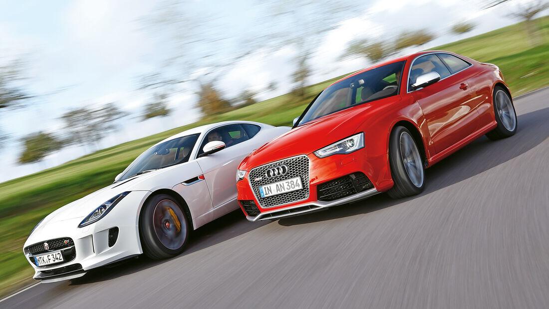 Audi RS5 Coupé, Jaguar F-Type S Coupé, Seitenansicht
