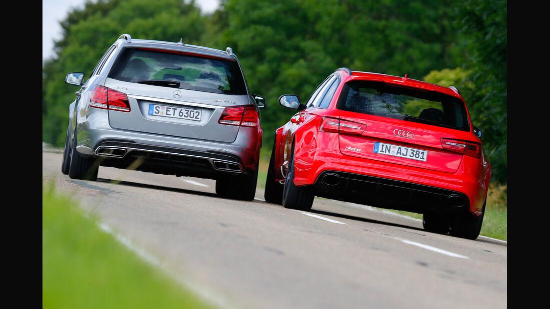 Audi RS6 Avant, Mercedes E 63 T AMG S 4Matic, Heckansicht