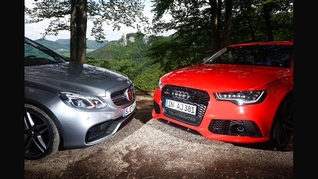 Audi RS6 Avant, Mercedes E 63 T AMG S 4Matic, Kühlergrill