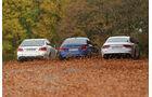 Audi RS7, BMW M5, Mercedes E 63 AMG S, Heckansicht