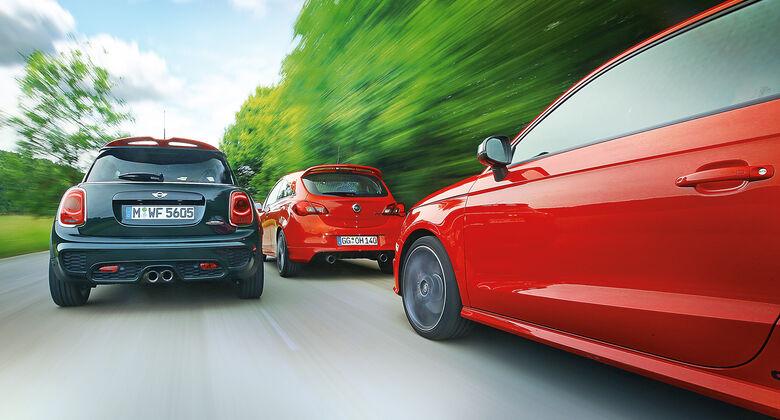Audi S1, Mini JCW, Opel Corsa OPC, Ausfahrt