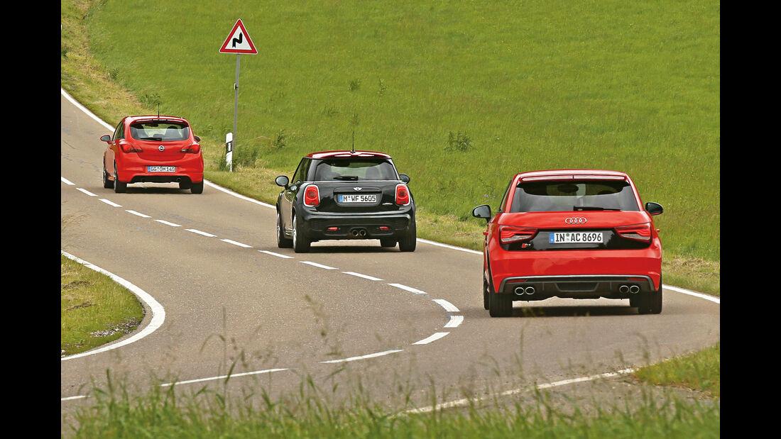 Audi S1, Mini JCW, Opel Corsa OPC, Heckansicht