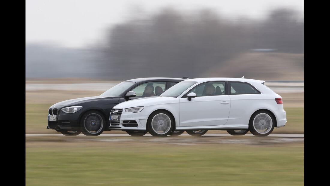 Audi S3 2.0 TFSI, BMW M135i x-Drive, Seitenansicht