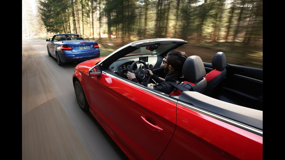 Audi S3 Cabrio, BMW M235i Cabrio, Fahrt, Impression