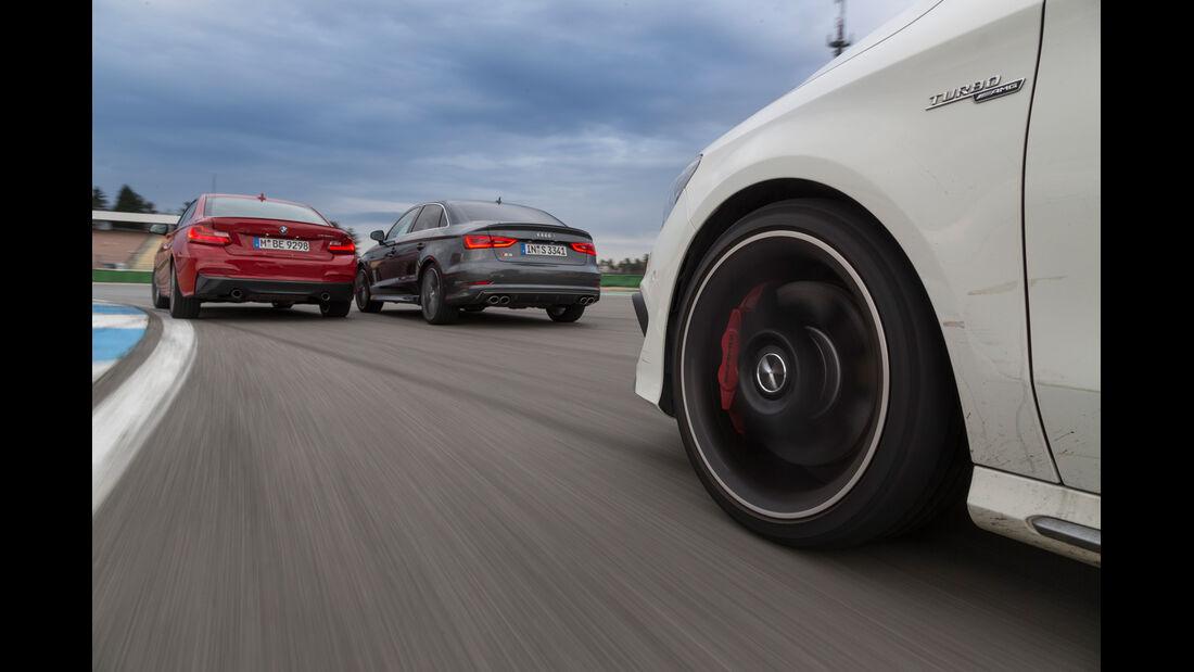 Audi S3 Limousine, BMW M235i, Mercedes CLA 45 AMG 4MATIC, Heck
