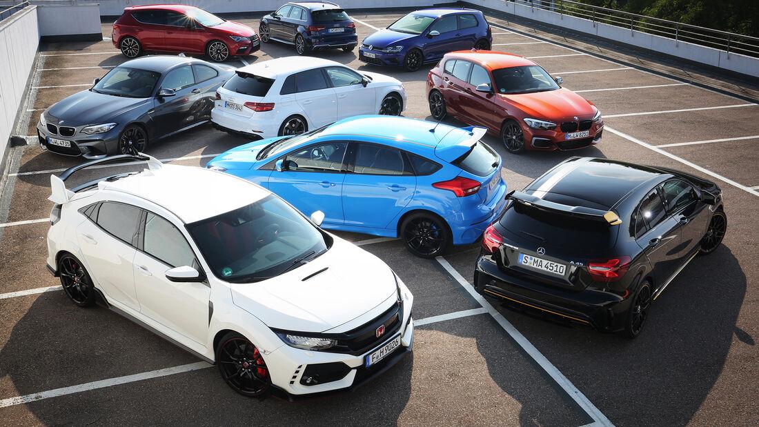 Audi S3 Sportback, Audi RS 3 Sportback, BMW M140i, BMW M2 Coupé, Ford Focus RS, Honda Civic Type R, Mercedes-AMG A 45, Seat Leon Cupra 300, VW Golf R, Exterieur