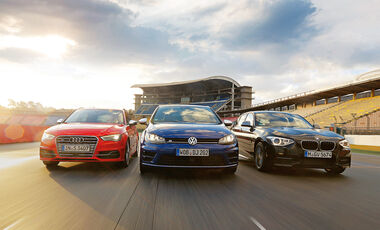 Audi S3 Sportback, BMW M135i xDrive, VW Golf R, Frontansicht