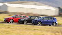 Audi S3 Sportback, BMW M135i xDrive, VW Golf R, Seitenansicht
