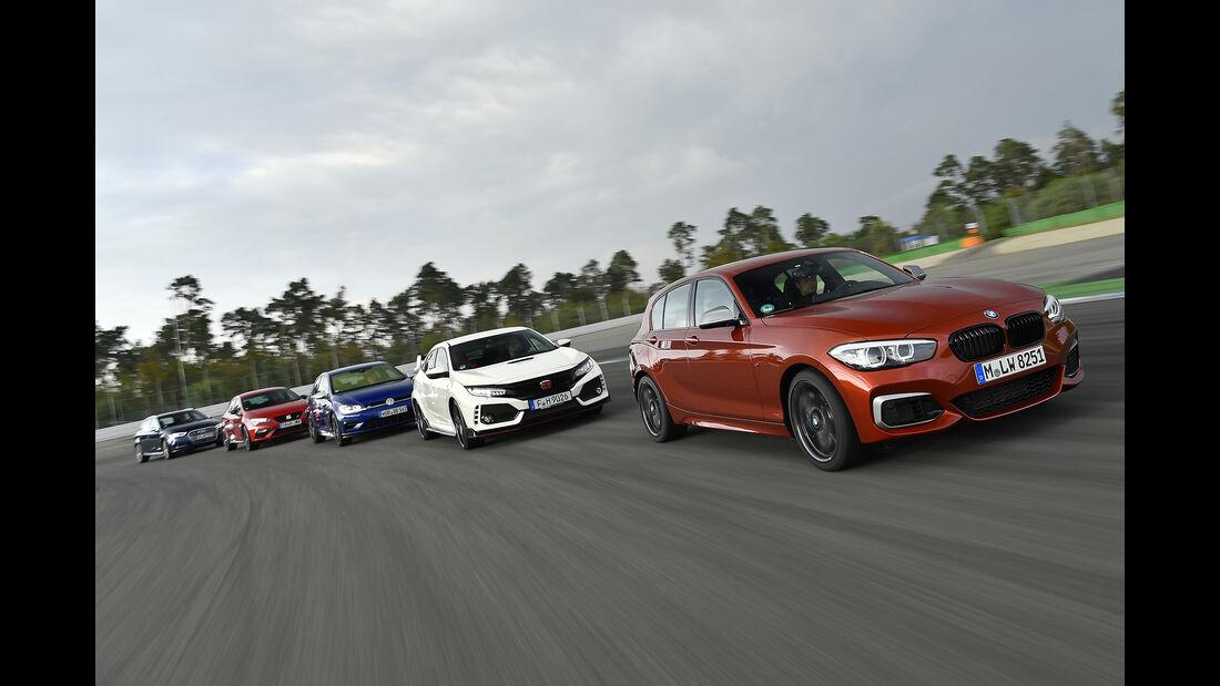 Audi S3 Sportback, BMW M140i, Honda Civic Type R, Seat Leon Cupra 300, VW Golf R, Exterieur