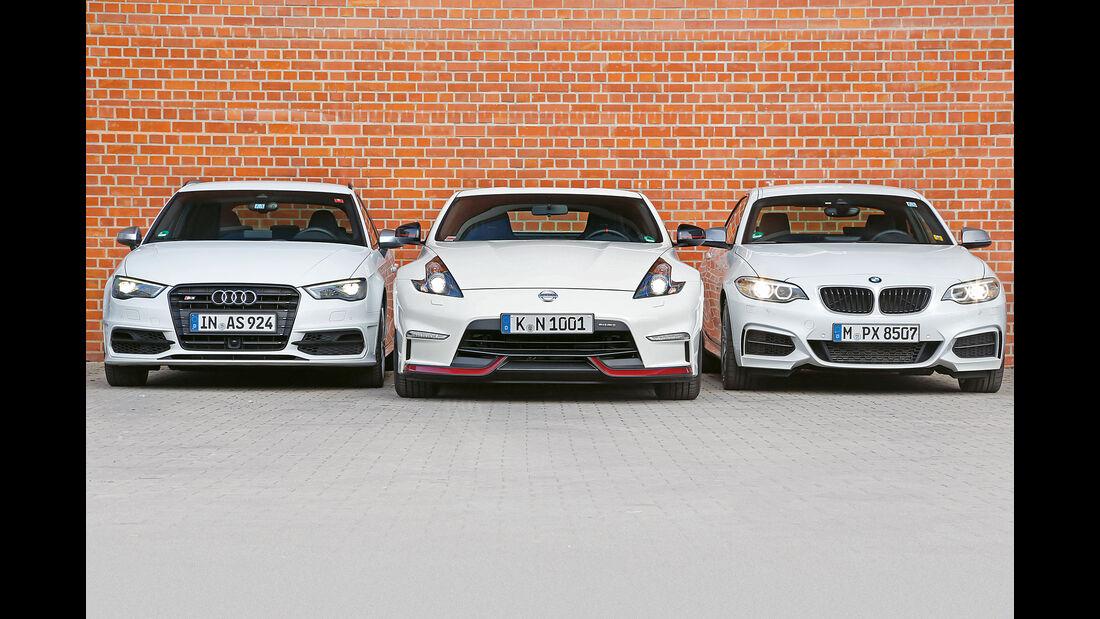 Audi S3 Sportback, Nissan 370Z Nismo, BMW M235i - Dauertest