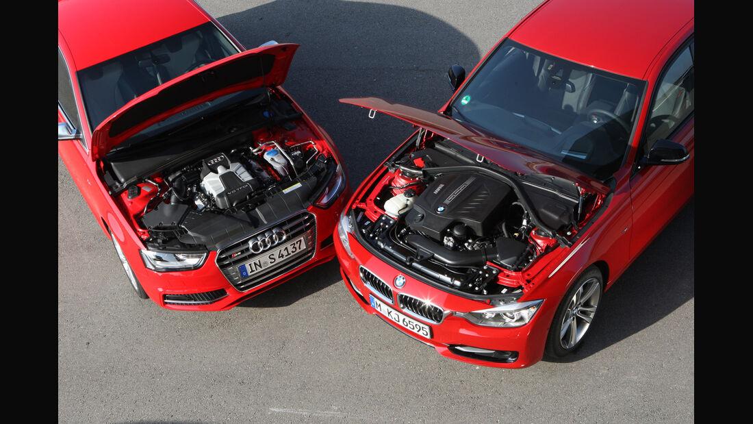 Audi S4 3.0 TFSI, BMW 335i Sport Line, Motorhaube, Motor