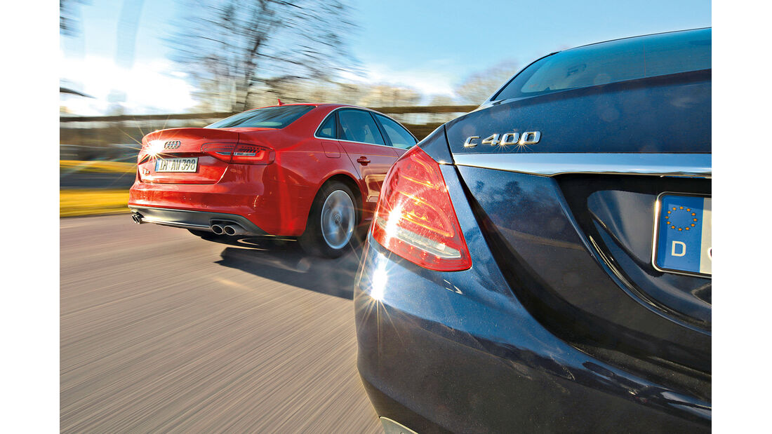 Audi S4, Mercedes C 400 4Matic, Heck
