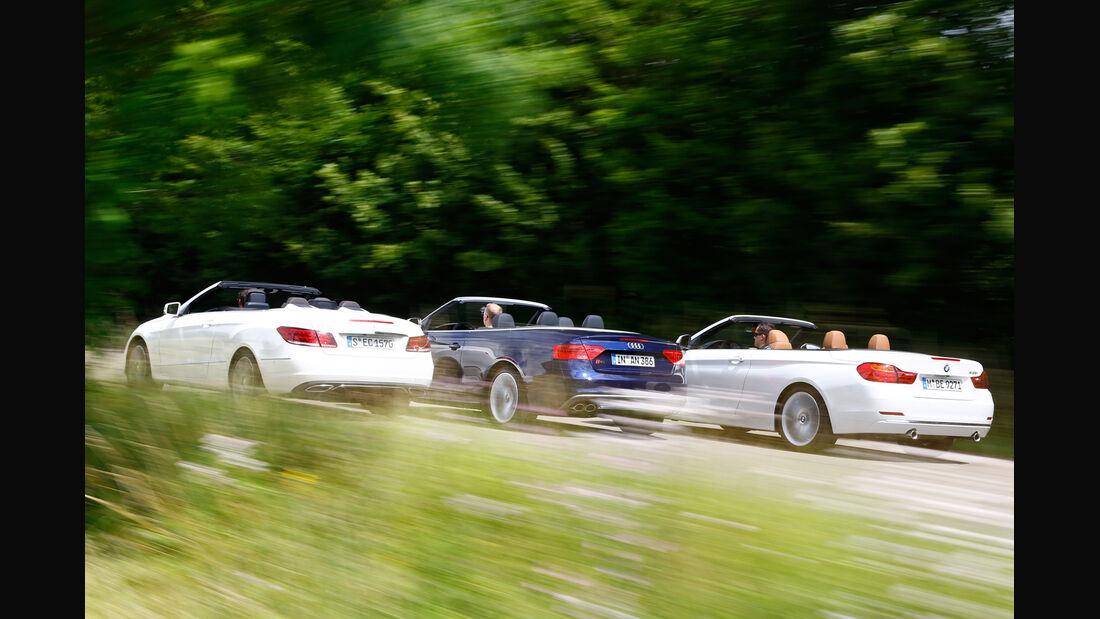 Audi S5 Cabrio, BMW 435i Cabrio, Mercedes E 400 Cabrio, Heckansicht