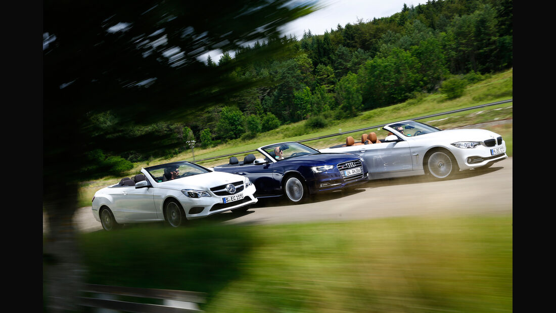 Audi S5 Cabrio, BMW 435i Cabrio, Mercedes E 400 Cabrio, Seitenansicht