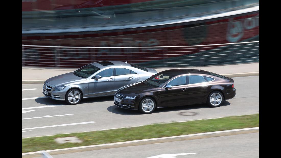 Audi S7 Sportback, Mercedes CLS 500 4matic, Seitenansicht