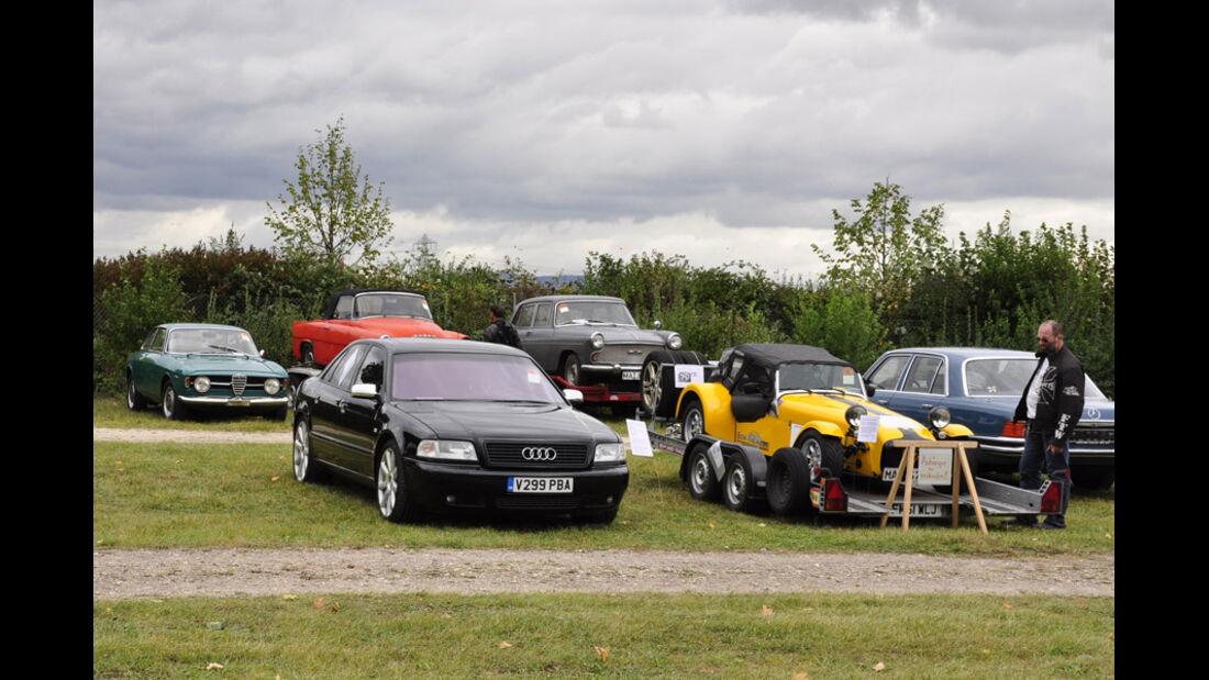 Audi S8, Austin A60, Skoda Felicia, Alfa Kantenhauber auf der Veterama Mannheim 2011 - Marktplatz
