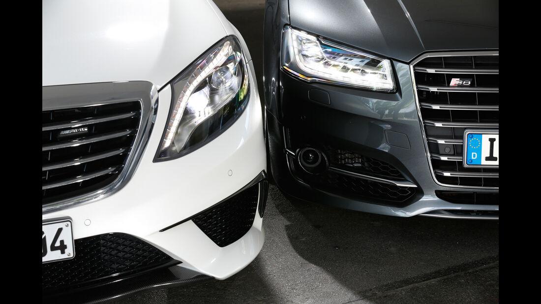 Audi S8, Mercedes S 63 4Matic, Frontscheinwerfer