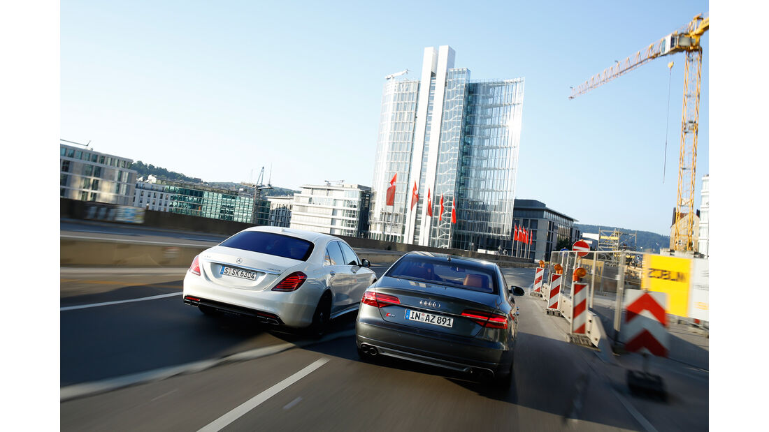 Audi S8, Mercedes S 63 4Matic, Heckansicht