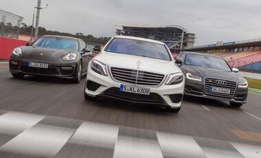 Audi S8, Mercedes S 63 AMG 4Matic, Porsche Panamera Turbo, Frontansicht