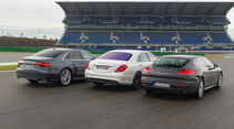 Audi S8, Mercedes S 63 AMG 4Matic, Porsche Panamera Turbo, Heckansicht