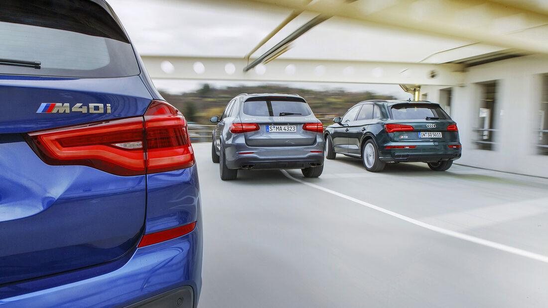 Audi SQ5 3.0 TFSI Quattro, BMW X3 M40i xDrive, Mercedes-AMG GLC 43 4Matic, Exterieur Heck