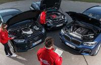 Audi SQ5 3.0 TFSI Quattro, BMW X3 M40i xDrive, Mercedes-AMG GLC 43 4Matic, Exterieur, Vogelperspektive