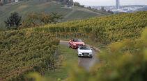 Audi TT 2.0 TDI Ultra, Mercedes SLC 250 d, Weinberge