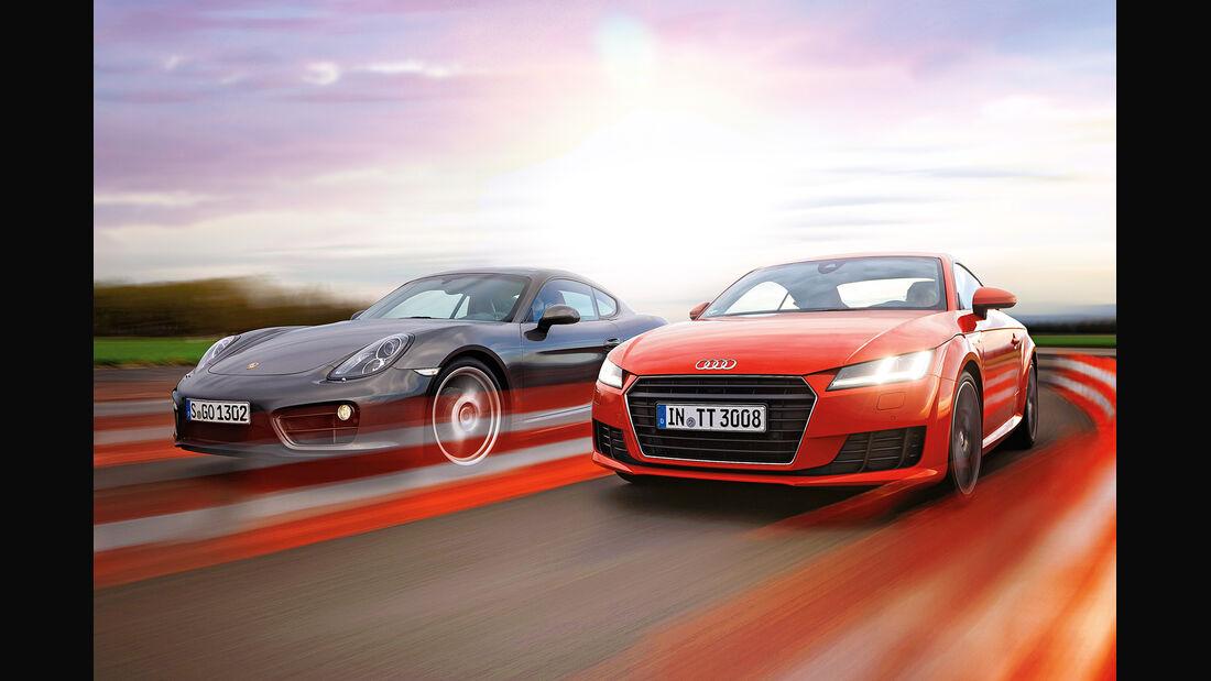 Audi TT Coupé 2.0 TFSI, Porsche Cayman, Frontansicht
