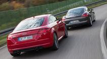 Audi TT Coupé 2.0 TFSI, Porsche Cayman, Heckansicht