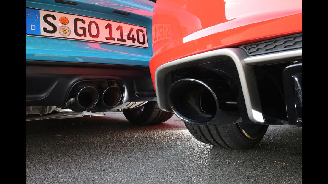 Audi TT RS Coupé, Porsche 718 Cayman S, Endrohre