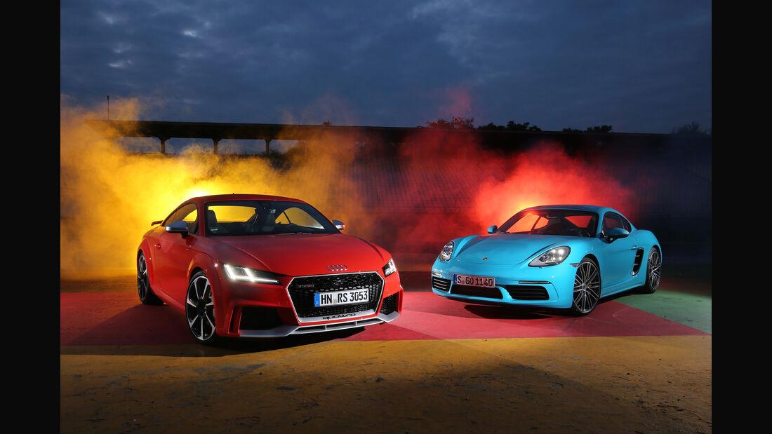 Audi TT RS Coupé, Porsche 718 Cayman S, Frontansicht