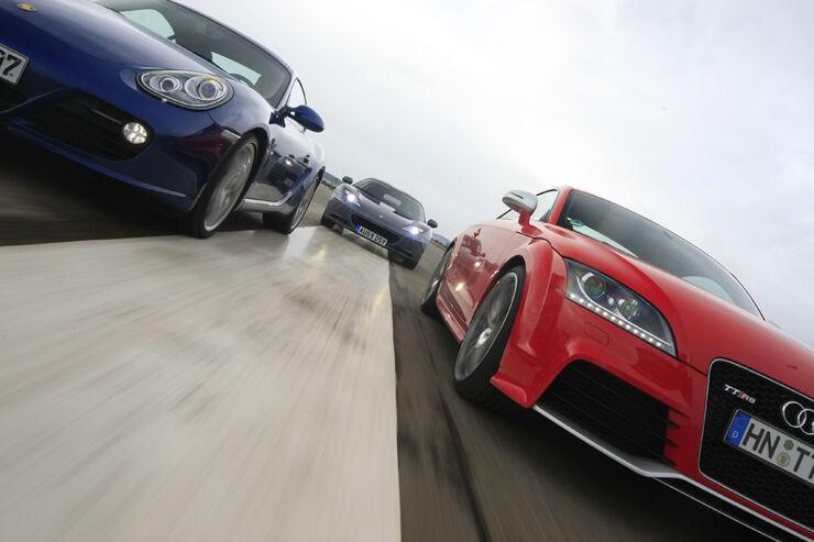 Audi TT RS, Lotus Evora, Porsche Cayman S