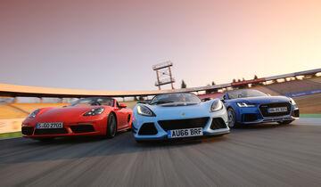 Audi TT RS Roadster, Lotus Exige Sport 380 Roadster, Porsche 718 Boxster S