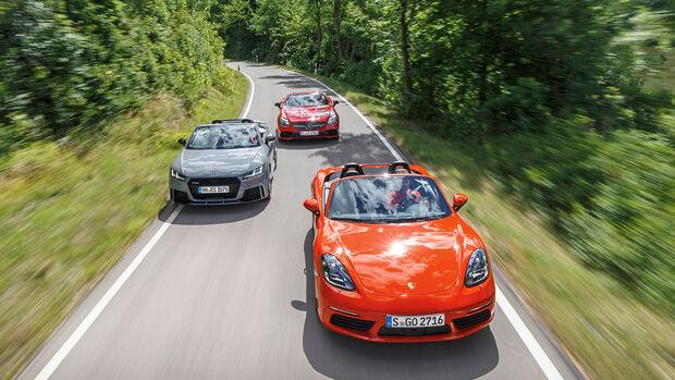 Audi TT RS Roadster, Mercedes-AMG SLC 43, Porsche 718 Boxster S Front
