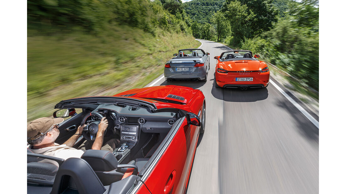 Audi TT RS Roadster, Mercedes-AMG SLC 43, Porsche 718 Boxster S Heck