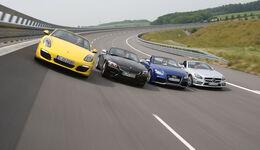 Audi TT Roadster, BMW Z4, Mercedes SLK, Porsche Boxster, Frontansicht