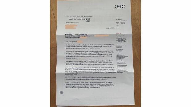 Audi TT Rückruf