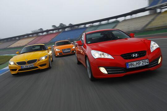Audi TTS Coupé 2.0 TFSI, Hyundai Genesis Coupé 3.8 V6, BMW Z4 sDrive 35i