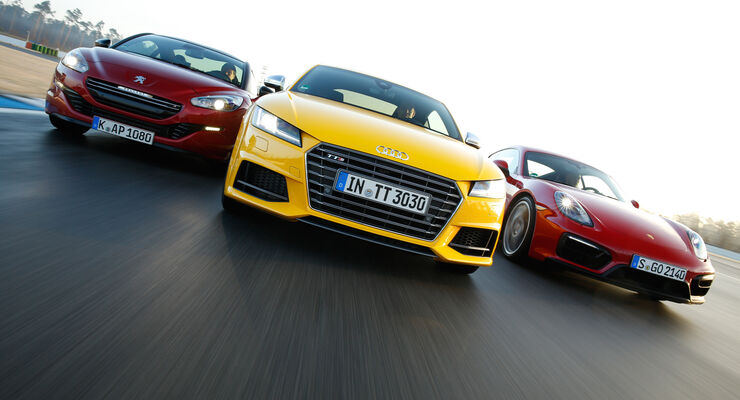 Audi TTS, Peugeot RCZ R, Porsche Cayman GTS, Frontansicht