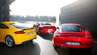 Audi TTS, Peugeot RCZ R, Porsche Cayman GTS, Heck